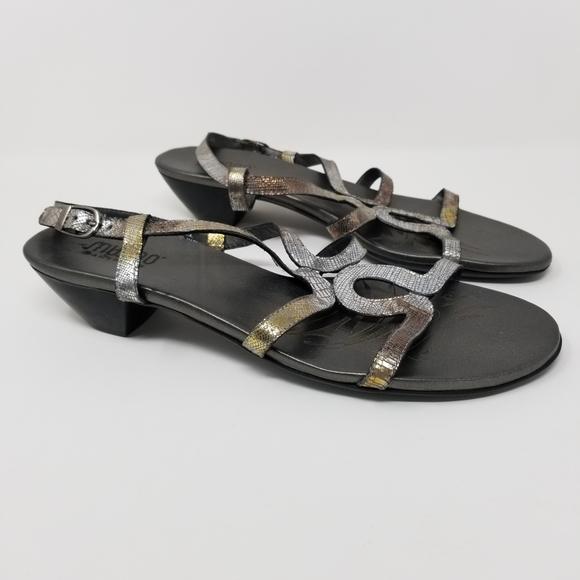 Munro Bali Sandals Crocodile Metallic 10.5